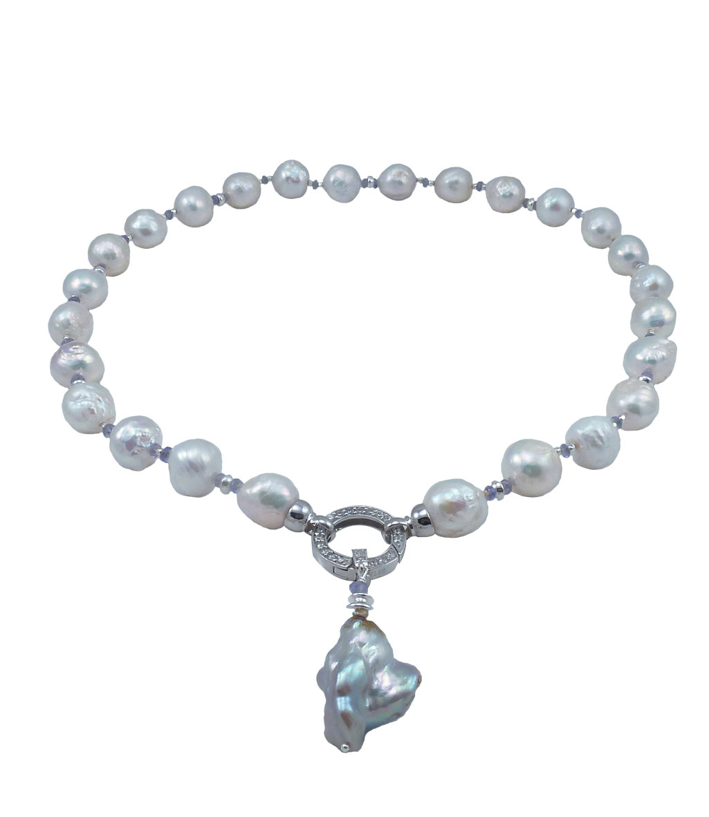Designer pearl necklace with white pearls and tanzanite 0 aloadofball Images
