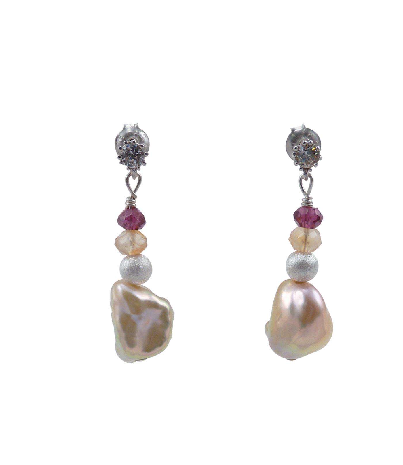 Keshi Pearls Earrings Carnelian Garnet